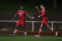 Nana Boakye-Yiadom of Hornchurch scores the first goal for his team and celebrates during AFC Hornchurch vs Great Wakering Rovers, BBC Essex Senior Cup Football at Hornchurch Stadium on 4th December 2018