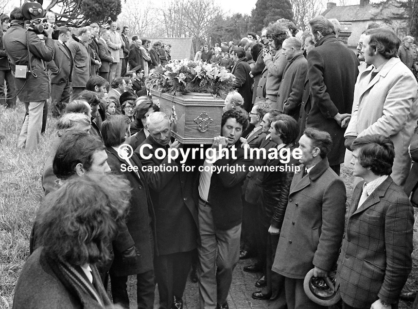 Funeral cortete of Senator Billy Fox, 35 years, Protestant, Fine Gael politician, Co Monaghan, Rep of Ireland, 14th March 1974, arrives at Aughamullan Parish Church, Castleblaney. Fox was previously a TD (Irish MP).  He was visiting the home near Clones of his fiancee, Marjorie Coulson, which unknown to him had been taken over by thirteen armed paramilitaries. He ran from the scene but was followed and shot dead in a nearby field. Five members of the Provisional IRA were subsequently tried and convicted of the killing. 197403140164g. .Copyright Image from Victor Patterson, 54 Dorchester Park, Belfast, United Kingdom, UK...For my Terms and Conditions of Use go to http://www.victorpatterson.com/Victor_Patterson/Terms_%26_Conditions.html