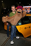 Jeff Marx and Trekki Monster taking the 'Avenue Q' - 15th Anniversary Performance Taxi Cab at New World Stages on July 31, 2018 in New York City.