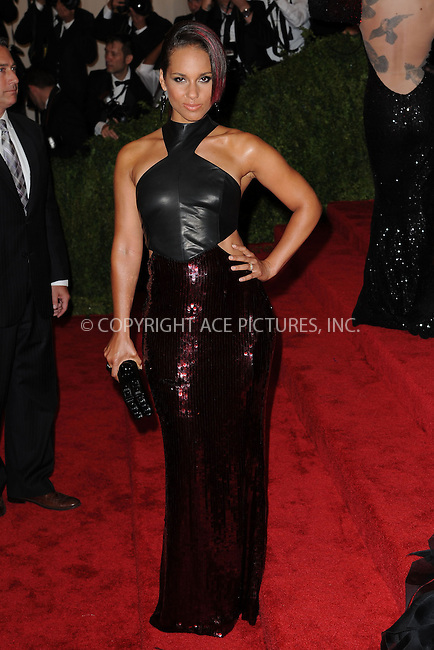 WWW.ACEPIXS.COM . . . . . .May 6, 2013...New York City....Alicia Keys attending the PUNK: Chaos to Couture Costume Institute Benefit Gala at The Metropolitan Museum of Art in New York City on May 6, 2013  in New York City ....Please byline: Kristin Callahan...ACEPIXS.COM...Ace Pictures, Inc: ..tel: (212) 243 8787 or (646) 769 0430..e-mail: info@acepixs.com..web: http://www.acepixs.com .