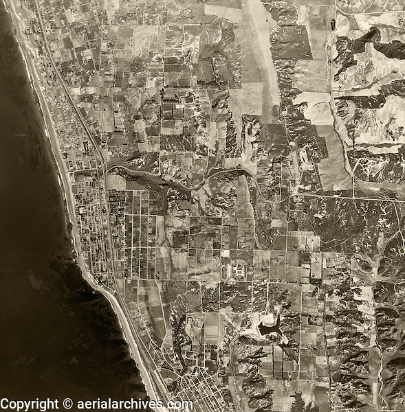 historical aerial photograph Encinitas, San Diego county, California,1947