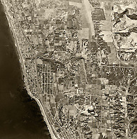 historical aerial photograph Encinitas, San Diego county, California,1947