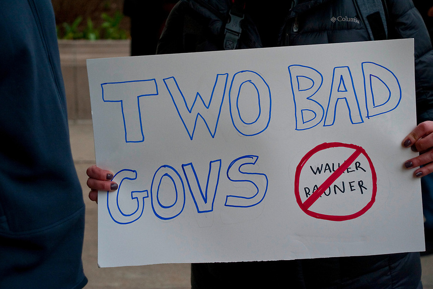 Outside a fundraiser for Governor Rauner at the Chicago Hilton,.Special guest was Wisconsin governor Scott Walker.