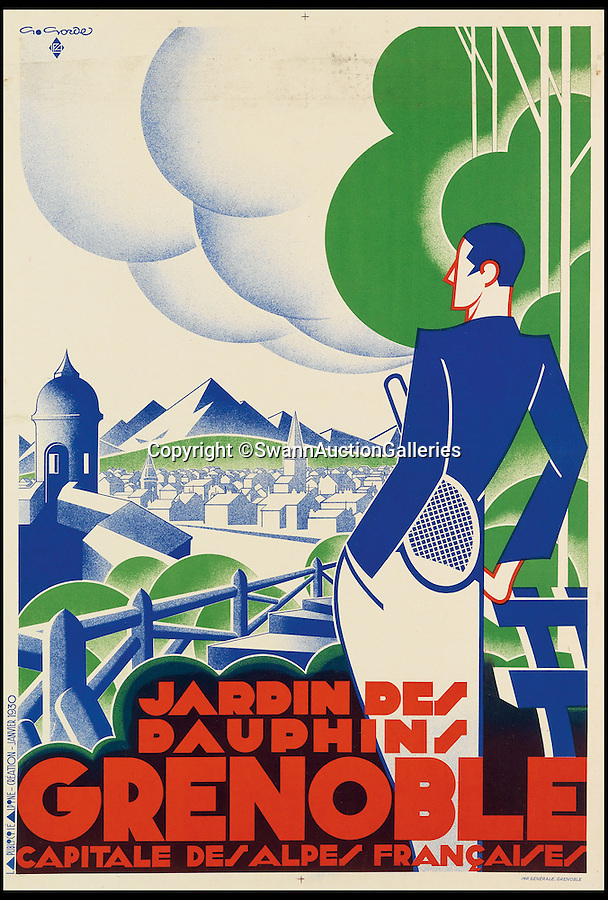 BNPS.co.uk (01202 558833)<br /> Pic: SwannAuctionGalleries/BNPS<br /> <br /> ***Please Use Full Byline***<br /> <br /> Jardin des Dauphins / Grenoble (1930), by Gaston Gorde, estimated at $1,200 - $1,800. <br /> <br /> <br /> The world's largest collection of vintage tennis posters spanning a century of the sport has emerged for sale for a staggering 100,000 pounds.<br /> <br /> The posters date from the late 19th century and advertise everything from famous tennis tournaments to luxury holiday destinations and even cars.<br /> <br /> The earliest poster in the collection comes from 1896 and advertises the Western Lawn Tennis Tournament at the Kenwood Country Club in Chicago.<br /> <br /> The collection was compiled by an Australian poster enthusiast over several decades and is thought to be the largest ever to come to auction.<br /> <br /> The posters will be sold individually for prices ranging between 150 pounds to 12,000 pounds and are collectively tipped to fetch a whopping 100,000 pounds in the Swann Auction Galleries sale.