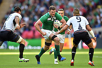 Donnacha Ryan of Ireland goes on the attack. Rugby World Cup Pool D match between Ireland and Romania on September 27, 2015 at Wembley Stadium in London, England. Photo by: Patrick Khachfe / Onside Images