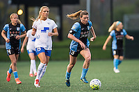 Allston, MA - Saturday, May 07, 2016: Boston Breakers midfielder Kristie Mewis (19) chases Chicago Red Stars defender Arin Gilliland (3) during a regular season National Women's Soccer League (NWSL) match at Jordan Field.