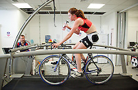 22 MAR 2012 - LOUGHBOROUGH, GBR - British triathlete Lucy Hall trains in the Performance Lab at Loughborough University watched by British Triathlon's Performance Coach Mark Pearce .(PHOTO (C) 2012 NIGEL FARROW)