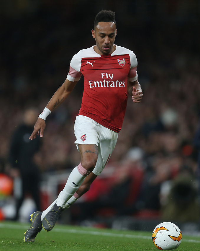 Arsenal's Pierre-Emerick Aubameyang<br /> <br /> Photographer Rob Newell/CameraSport<br /> <br /> UEFA Europa League Semi-final 1st Leg - Arsenal v Valencia - Thursday 2nd May 2019 - The Emirates - London<br />  <br /> World Copyright © 2018 CameraSport. All rights reserved. 43 Linden Ave. Countesthorpe. Leicester. England. LE8 5PG - Tel: +44 (0) 116 277 4147 - admin@camerasport.com - www.camerasport.com