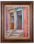 2014.1.31 <br /> Double Doorways. <br /> 1978.<br /> Oil on canvas by Jacob Glushakow (1914-2000).<br /> 17.5 x 21.25 inches<br /> Glushakow Collection<br /> Museum Department