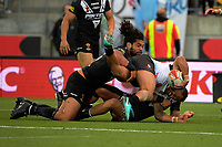 Fiji's Jarryd Hayne is tackled during the 2017 Rugby League World Cup quarterfinal match between New Zealand Kiwis and Fiji at Wellington Regional Stadium in Wellington, New Zealand on Saturday, 18 November 2017. Photo: Dave Lintott / lintottphoto.co.nz