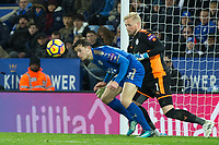 Ben Chilwell and Kasper Schmeichel of Leicester City get mixed up during a corner during the Premier League match between Leicester City and Tottenham Hotspur at the King Power Stadium, Leicester, England on 28 November 2017. Photo by James Williamson / PRiME Media Images.