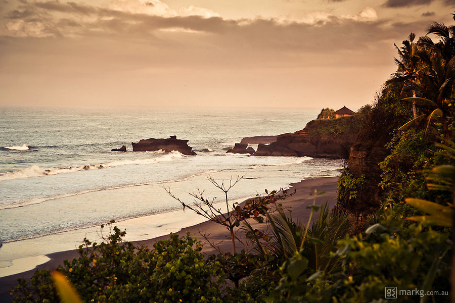 Looking to the northern end of the beach at Balian.