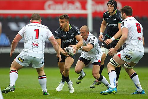 29th April 2017, Liberty Stadium, Swansea, Wales; Pro12 Rugby, Ospreys versus Ulster; Ospreys Rhys Webb (Captain) is tackled by Ulsters Ruan Pienaar