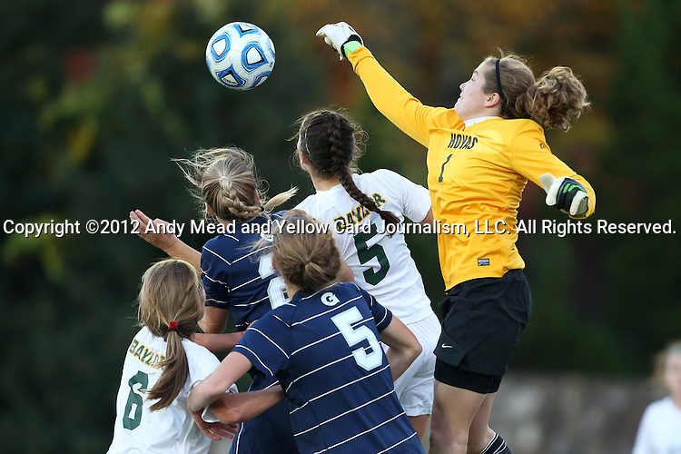 16 November 2012: Georgetown's Emma Newins (1) punches the ball away from Baylor's Lisa Sliwinski (5, white). The Baylor University Bears played the Georgetown University Hoyas at Fetzer Field in Chapel Hill, North Carolina in a 2012 NCAA Division I Women's Soccer Tournament Second Round game. Baylor won the game 2-1 in overtime.