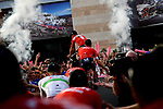 Trek-Segafredo team arrive on stage at the Team Presentation before the 101st edition of the Giro d'Italia 2018. Jerusalem, Israel. 3rd May 2018.<br /> Picture: LaPresse/Marco Alpozzi | Cyclefile<br /> <br /> <br /> All photos usage must carry mandatory copyright credit (&copy; Cyclefile | LaPresse/Marco Alpozzi)