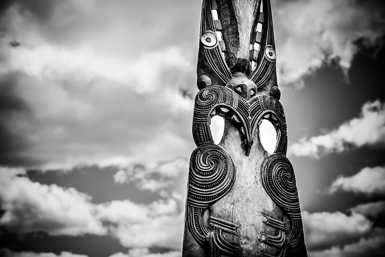 Maori carving, Waimungu Volcanic Valley, Rotorua, New Zealand - stock photo, canvas, fine art print