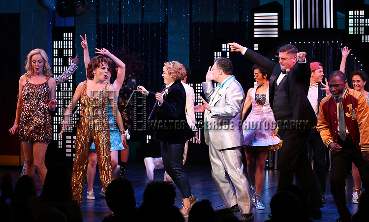 """Angie Schworer, Beth Leavel, Caitlin Kinnunen, Brooks Ashmanskas, Christopher Sieber and Michael Potts during the Broadway Opening Night Curtain Call of """"The Prom"""" at The Longacre Theatre on November 15, 2018 in New York City."""