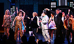 "Angie Schworer, Beth Leavel, Caitlin Kinnunen, Brooks Ashmanskas, Christopher Sieber and Michael Potts during the Broadway Opening Night Curtain Call of ""The Prom"" at The Longacre Theatre on November 15, 2018 in New York City."
