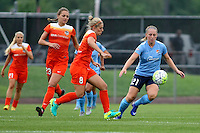 Piscataway, NJ - Saturday July 09, 2016: Leah Galton, Ellie Brush during a regular season National Women's Soccer League (NWSL) match between Sky Blue FC and the Houston Dash at Yurcak Field.