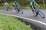 Green Jersey Alejandro Valvede (ESP), Winner Anacona (COL) Movistar Team and Miguel Angel Lopez Moreno (COL) Astana descend during Stage 20 of the La Vuelta 2018, running 97.3km from Andorra Escaldes-Engordany to Coll de la Gallina, Spain. 15th September 2018.                   <br /> Picture: Unipublic/Photogomezsport | Cyclefile<br /> <br /> <br /> All photos usage must carry mandatory copyright credit (© Cyclefile | Unipublic/Photogomezsport)