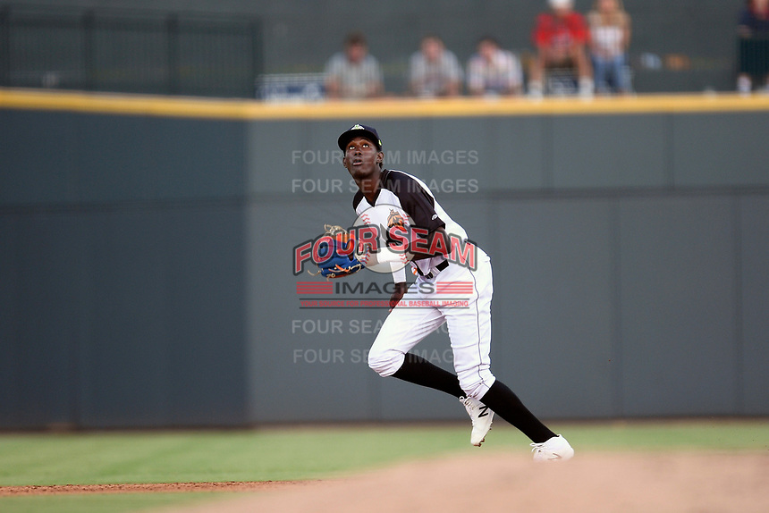 Shortstop Ronny Mauricio (2) of the Columbia Fireflies plays defense in a game against the Lexington Legends on Thursday, June 13, 2019, at Segra Park in Columbia, South Carolina. Lexington won, 10-5. (Tom Priddy/Four Seam Images)