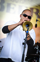 Los Hombres Calientes play French Quarter Festival 2011, their first appearance since 2004.