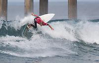Huntington Beach, CA - Sunday August 06, 2017: Josh Kerr during a World Surf League (WSL) Qualifying Series (QS) Quarterfinal heat in the 2017 Vans US Open of Surfing on the South side of the Huntington Beach pier.