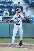 Josh Fuentes #2 of the Tri-City Dust Devils bats against the Everett AquaSox at Everett Memorial Stadium on July 29, 2014 in Everett, Washington. Everett defeated Tri-City, 7-5. (Larry Goren/Four Seam Images)