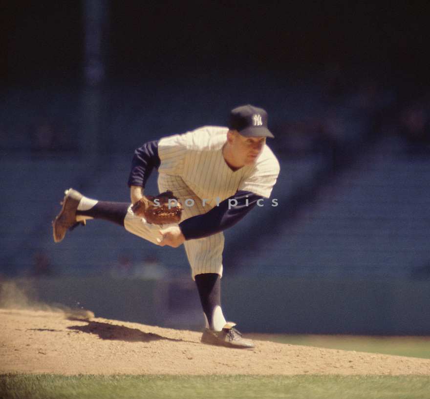 New York Yankees Whitey Ford (16) during a game from his 1962 season with the New York Yankees .  Whitey Ford played for 16 years, all with the New York Yankees, was a 8-time All-Star, 1961 Cy Young Award winner and was inducted to the Baseball Hall of Fame in 1974.