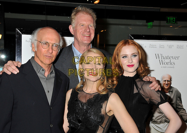 "LARRY DAVIS, ED BEGLEY JR., PATRICIA CLARKSON & EVAN RACHEL WOOD.""Whatever Works"" Los Angeles Premiere held at the Pacific Design Center, West Hollywood, CA, USA..June 8th, 2009.half length black sheer red lipstick glasses arms over hand on shoulders.CAP/ADM/BP.©Byron Purvis/AdMedia/Capital Pictures."