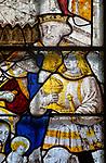 Sixteenth century stained glass window detail Fairford, Gloucestershire, England, UK hidden portrait Prince Arthur 1486-1502