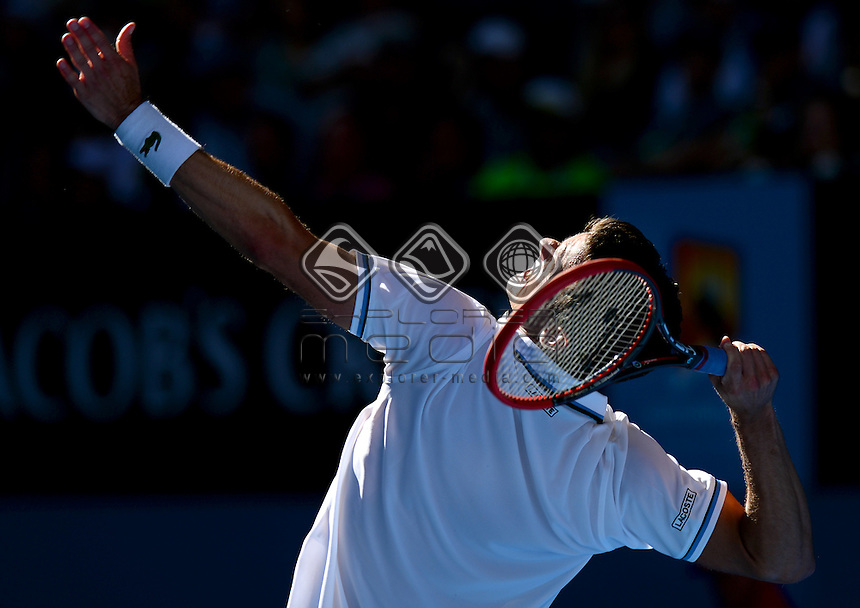 Tobias Kamke (GER) round 1 action<br /> 2015 Australian Open Tennis <br /> Grand Slam of Asia Pacific<br /> Melbourne Park, Vic Australia<br /> Monday 19 January 2015<br /> &copy; Sport the library / Jeff Crow