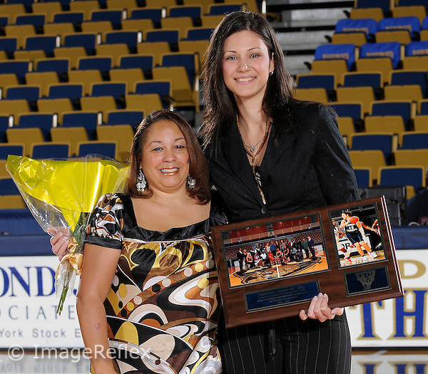 1 March 2008: Florida International student assistant coach Gordana Bedalov is honored as one of three  graduating seniors prior to the South Alabama 62-47 victory over Florida International at the Pharmed Arena in Miami, Florida.