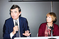 Philippe Douste-Blazy speaks on a panel with Baroness Tessa Jowell (right) and Luiz Odorico Monteiro de Andrade (not pictured) during Douste-Blazy's visit to Harvard University's T. H. Chan School of Public Health in Boston, Massachusetts, USA. The visit is part of his campaign to become Director General of the World Health Organization. Jowell has served in the UK as a member of parliament and held various ministerial positions. Odorico is a current member of the Brazilian parliament and has served Minister of Health for numerous districts in the country. During the visit, Doutse-Blazy met with professors, students, and visiting scholars, including former Ministers of Health from England and Brazil. Doutse-Blazy is Under-Secretary-General and Special Adviser on Innovative Financing for Development in the United Nations and chairman of UNITAID. He served as Minister of Health, Minister of Culture, and Foreign Minister in the French government and was also mayor of Lourdes and Toulouse.