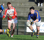 12-02-12: Shane O'Connor, Tralee CBS, breaks away from Dara O'Se, Pobal Scoil Chorcha Dhuibhne  in the  Munster Colleges Corn Uí Mhuiri Semi-Final at the  Dr. Crokes grounds, Killarney on Sunday.    Picture: Eamonn Keogh (MacMonagle, Killarney)