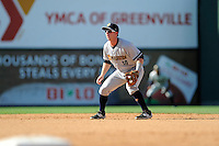 Third baseman Ryan Lindemuth (10) of the Charleston RiverDogs plays the infield in a game against the Greenville Drive on Sunday, June 28, 2015, at Fluor Field at the West End in Greenville, South Carolina. Charleston won, 12-9. (Tom Priddy/Four Seam Images)