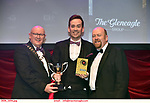 16-6-2019:  Chris Corroon – Henry Jekyll- Jekyll &Hyde- Tullamore Musical Society, Offaly winner of the Best Male Singer award at the annual AIMS (Association of Irish Musical Societies) in the INEC Killarney at the weekend receiving the trophy from Seamus Power, President, AIMS left and Rob Donnelly, Vice-President.<br /> Photo: Don MacMonagle - macmonagle.com<br /> <br /> repro free photo from AIMS<br /> <br /> AIMS PRESS RELEASE: There was plenty of glitz and glamour in Killarney on Saturday night as The Association of Irish Musical Societies has its Annual Awards Ceremony in Killarney. Over 1,500 people could be heard over the Kerry mountains as the winners were announced by MC Fergal D'Arcy. Many societies were double winners on the night including UCD Musical Society, Dublin were dancing all the way to the trophies winning Best Choreography and Best Choreographer for Leah Meagher for Cabaret and  Tullamore Musical Society who took their moment as Chris Corroon won Best Male Singer for his sinful performance as Henry Jekyll in Jekyll &Hyde and also Director Paul Norton who'd plenty to celebrate picking Best Director for  the same show. The moment was once again taken by Jekyll&Hyde by Dùn Laoighaire Musical&Dramatic Society as Kevin Hartnett took up Best Male Singer in the Sullivan category.Nenagh Youth Musical Society raised their voices high and took home Best Ensemble. It was a superior night for Enniscorthy Musical Society by winning Best Comedienne for Jennifer Byrne as Mother Superior and Best Technical too. Portlaoise Musical Society rose to the top by taking home Best Overall Show in the Gilbert section for their stunning production of Titanic. Oyster Lane Theatre Group, Wexford flew their flag high taking home Best Overall Show in the Sullivan Section for their breathtaking production of Michael Collins-a Musical Drama.<br /> Other winners on the night included Best Comedian for Ronan Walsh as Officer Lockstock in Urinetown for Trim Musical Society, Best Actress in a Supporting Ro