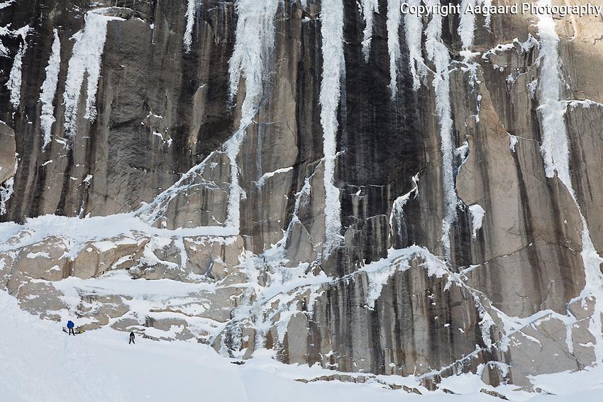 Ice climbing on the Diamond, Long's Peak, Rocky Mountain National Park