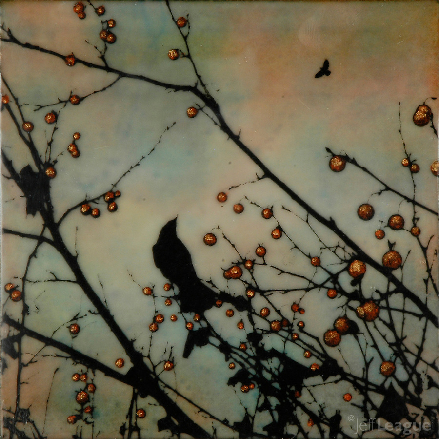 Mixed media encaustic photo painting of crow in branch with berries.