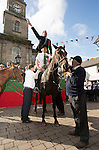 Langholm Common Riding 2016. First Fair Crying, Proclamation of Langholm Fair and Common Riding done by standing on a horses backs