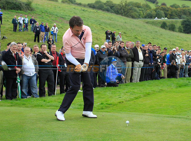 Graeme McDowell tees off on the 15th tee during Practice Day 3 of the The 2010 Ryder Cup at the Celtic Manor, Newport, Wales, 29th September 2010..(Picture Eoin Clarke/www.golffile.ie)