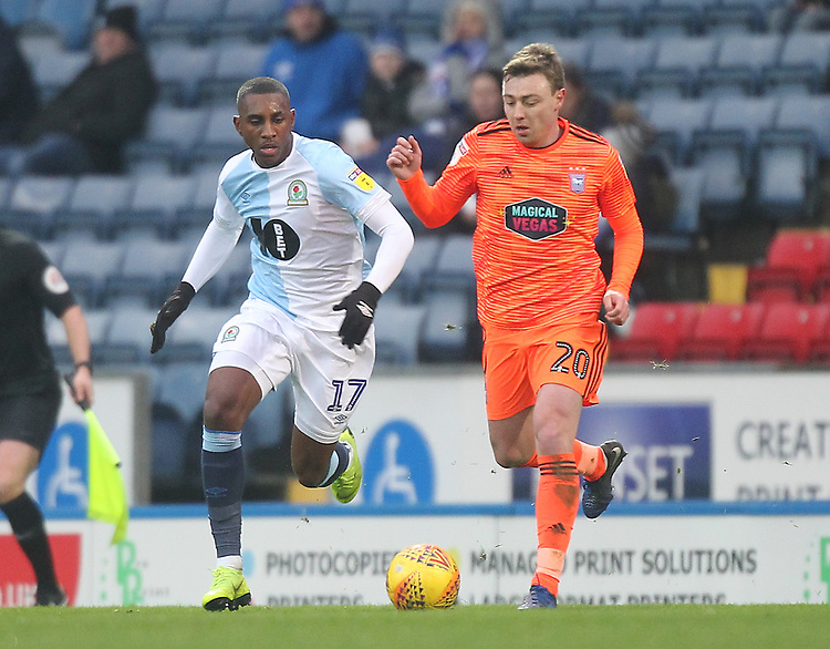 Blackburn Rovers Amari'i Bell in action with Ipswich Town's Freddie Sears<br /> <br /> Photographer Mick Walker/CameraSport<br /> <br /> The EFL Sky Bet Championship - Blackburn Rovers v Ipswich Town - Saturday 19 January 2019 - Ewood Park - Blackburn<br /> <br /> World Copyright &copy; 2019 CameraSport. All rights reserved. 43 Linden Ave. Countesthorpe. Leicester. England. LE8 5PG - Tel: +44 (0) 116 277 4147 - admin@camerasport.com - www.camerasport.com