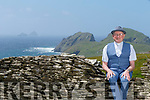 Fr Patsy Lynch at Lettercamps, Glanearagh with Puffin Island and the Skelligs in the background.