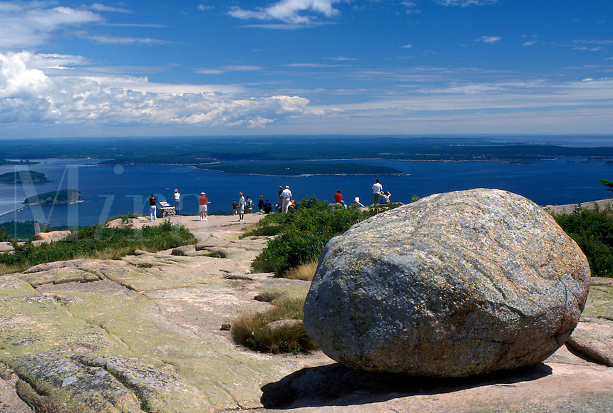 ME, Acadia National Park, Maine, Mount Desert Island, Cadillac Mt., People looking at view of Frenchman Bay from Cadillac Mountain in Acadia Nat'l Park on the Atlantic Ocean.