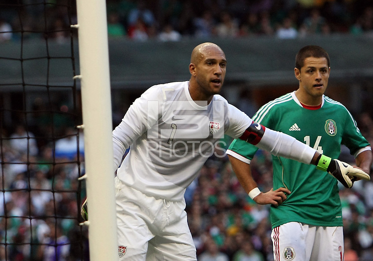 MEXICO CITY, MEXICO - AUGUST 15, 2012:  Tim Howard (1) of the USA MNT with Javier (Chicharito) Hernandez (14) of  Mexico during an international friendly match at Azteca Stadium, in Mexico City, Mexico on August 15. USA won 1-0.
