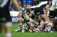 Danny Care of Harlequins passes during the Aviva Premiership match between London Irish and Harlequins at the Madejski Stadium on Sunday 28th October 2012 (Photo by Rob Munro)