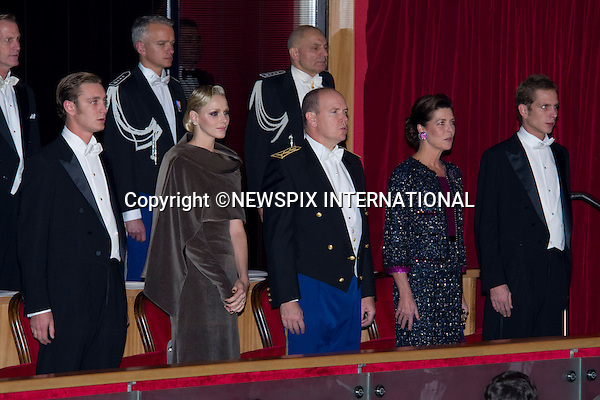 "PRINCE ALBERT AND PRINCESS CHARLENE .together with other members of the Monaco Royal Family attend the Soiree de Gala at the Grimaldi Forum on the occasion of the National Day, Monte Carlo, Monaco_19/11/2011.Mandatory Credit Photos: ©Francis Dias/NEWSPIX INTERNATIONAL..**ALL FEES PAYABLE TO: ""NEWSPIX INTERNATIONAL""**..PHOTO CREDIT MANDATORY!!: NEWSPIX INTERNATIONAL(Failure to credit will incur a surcharge of 100% of reproduction fees)..IMMEDIATE CONFIRMATION OF USAGE REQUIRED:.Newspix International, 31 Chinnery Hill, Bishop's Stortford, ENGLAND CM23 3PS.Tel:+441279 324672  ; Fax: +441279656877.Mobile:  0777568 1153.e-mail: info@newspixinternational.co.uk"