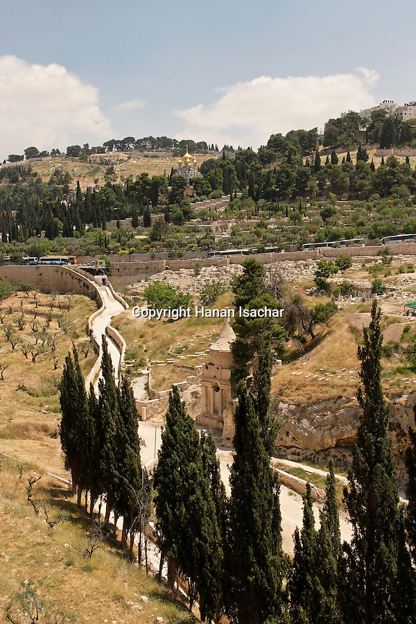 Israel, Jerusalem, Kidron valley, Absalom Pillar at the foot of the Mount of Olives facing Temple Mount.<br />