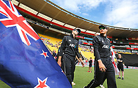 Blackcaps Mitchell Santner & Martin Guptill head onto the pitch during the third ODI cricket match between the Blackcaps & England at Westpac stadium, Wellington. 3rd March 2018. © Copyright Photo: Grant Down / www.photosport.nz