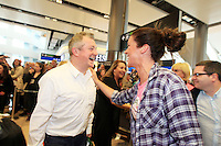 15/5/11 Louis Walsh enjoys a laugh with Glenda Gilson as Jedward arrive home at T2 Dublin Airport after finishing in 8th place at the Eurovision Song Contest in Dusseldorf, Germany. Picture:Arthur Carron/Collins
